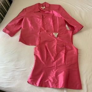 Talbots pure silk pink shell and matching jacket 8